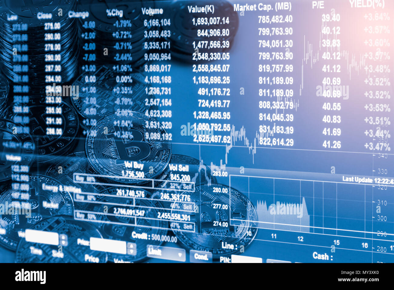Modern way of exchange and bitcoin is convenient payment in global economy market. Virtual digital currency and financial investment trade concept. Cr - Stock Image