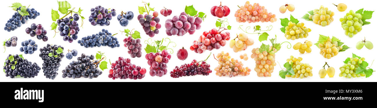 Collections of Ripe grapes with leaves isolated on white - Stock Image