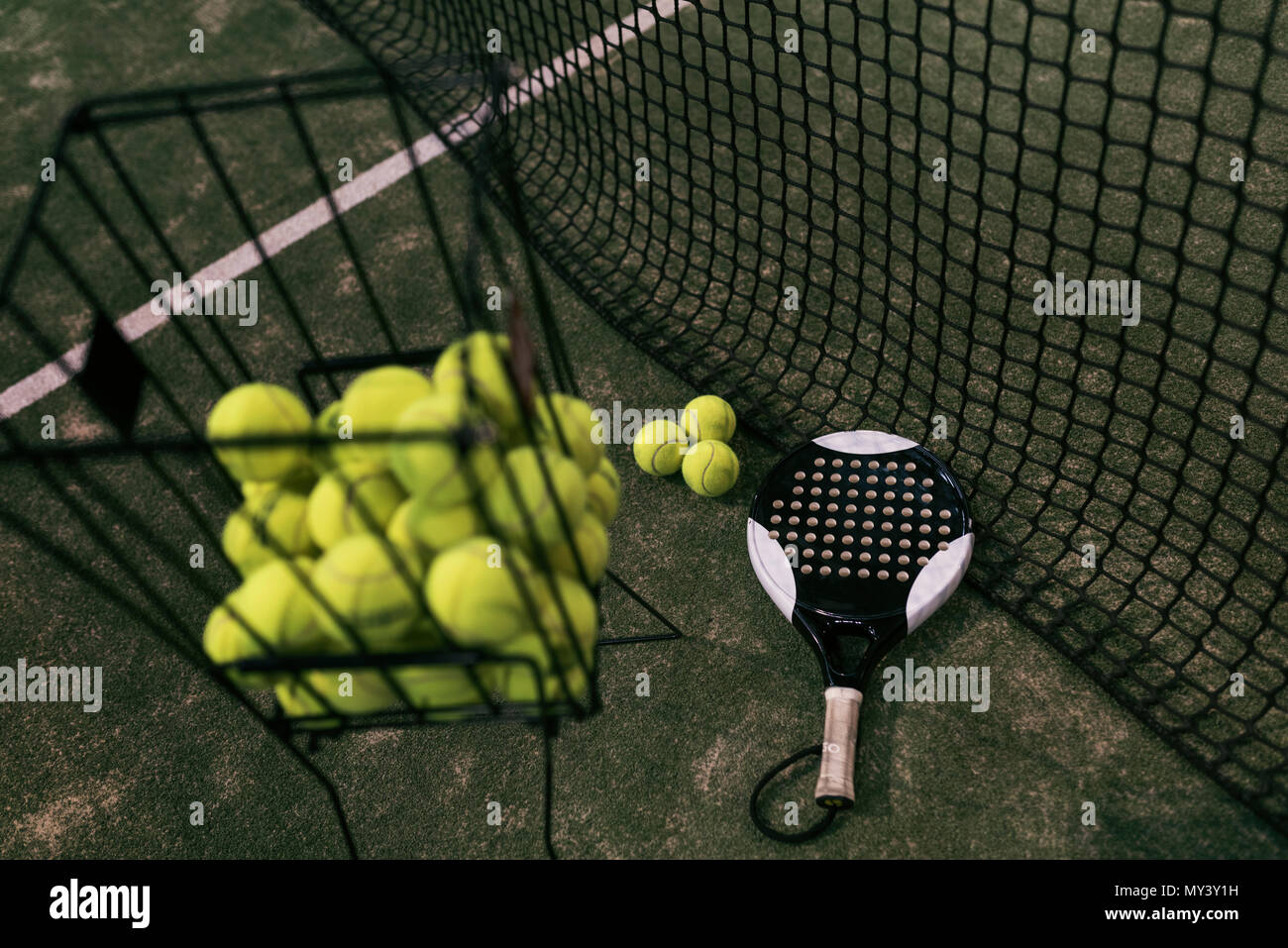 Paddle tennis objects on turf ready for tournament Stock Photo