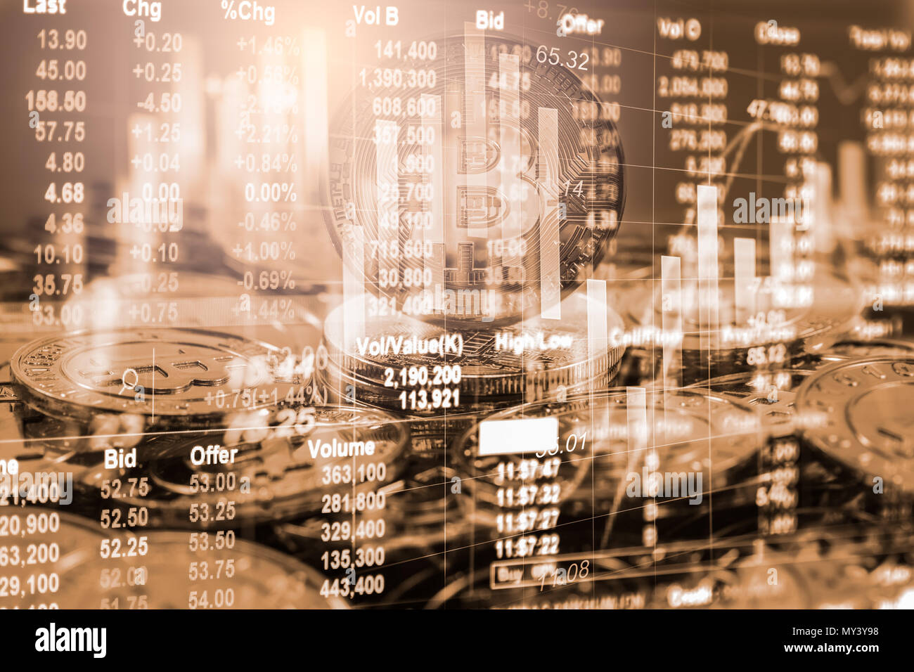 Modern way of exchange. Bitcoin is convenient payment in global economy market. Virtual digital currency and financial investment trade concept. Abstr - Stock Image