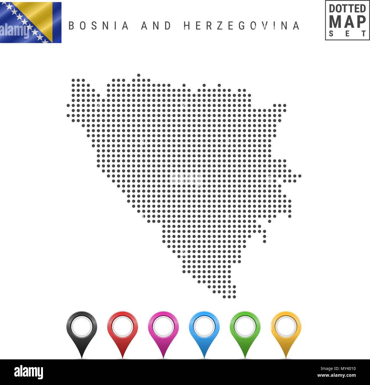 Vector Dotted Map of Bosnia and Herzegovina. Bosnia and Herzegovina Silhouette. Bosnia and Herzegovina Flag. Map Markers - Stock Vector