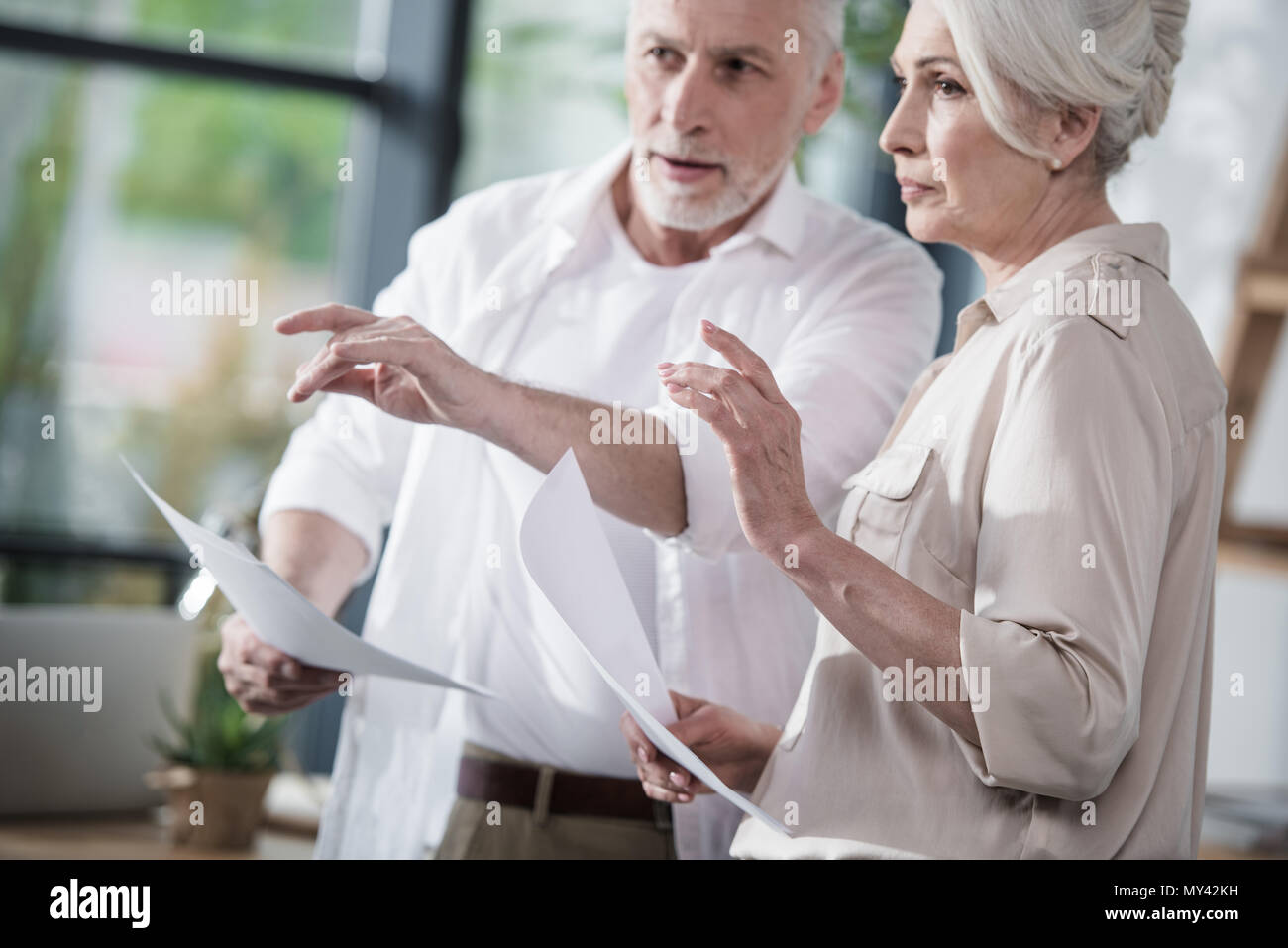 Senior business colleagues converse at office - Stock Image