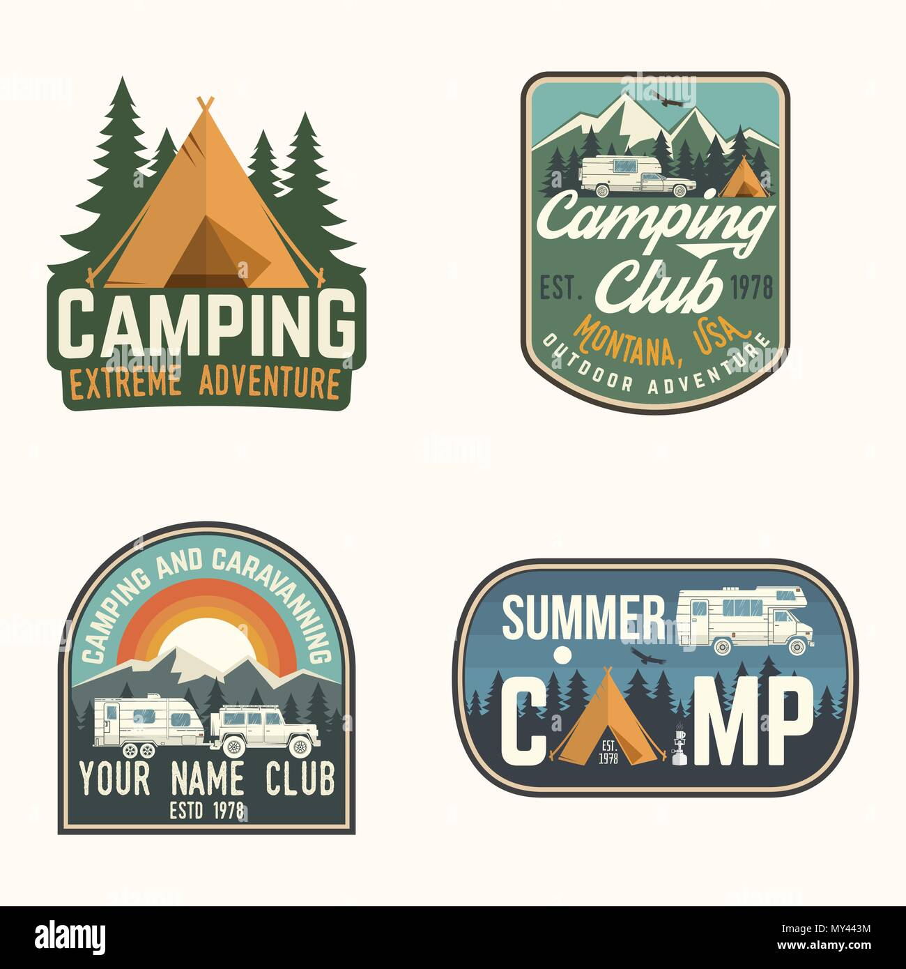 Vector Illustration Concept For Shirt Or Logo Print Stamp Patch Tee Vintage Typography Design With Camp Trailer Forest And Mountain Silhouette