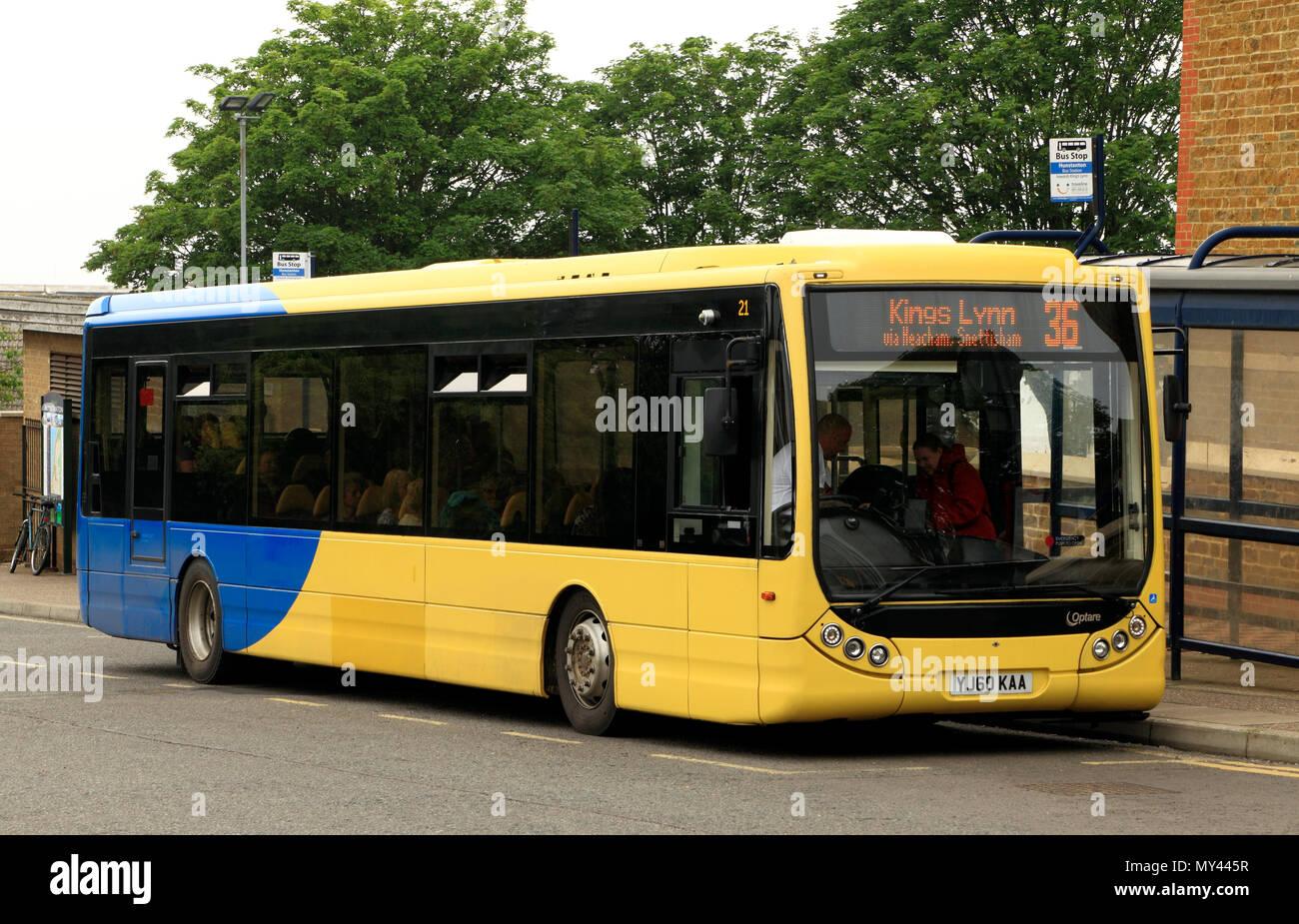 Hunstanton to Kings Lynn, bus, public transport, Norfolk, England, UK - Stock Image