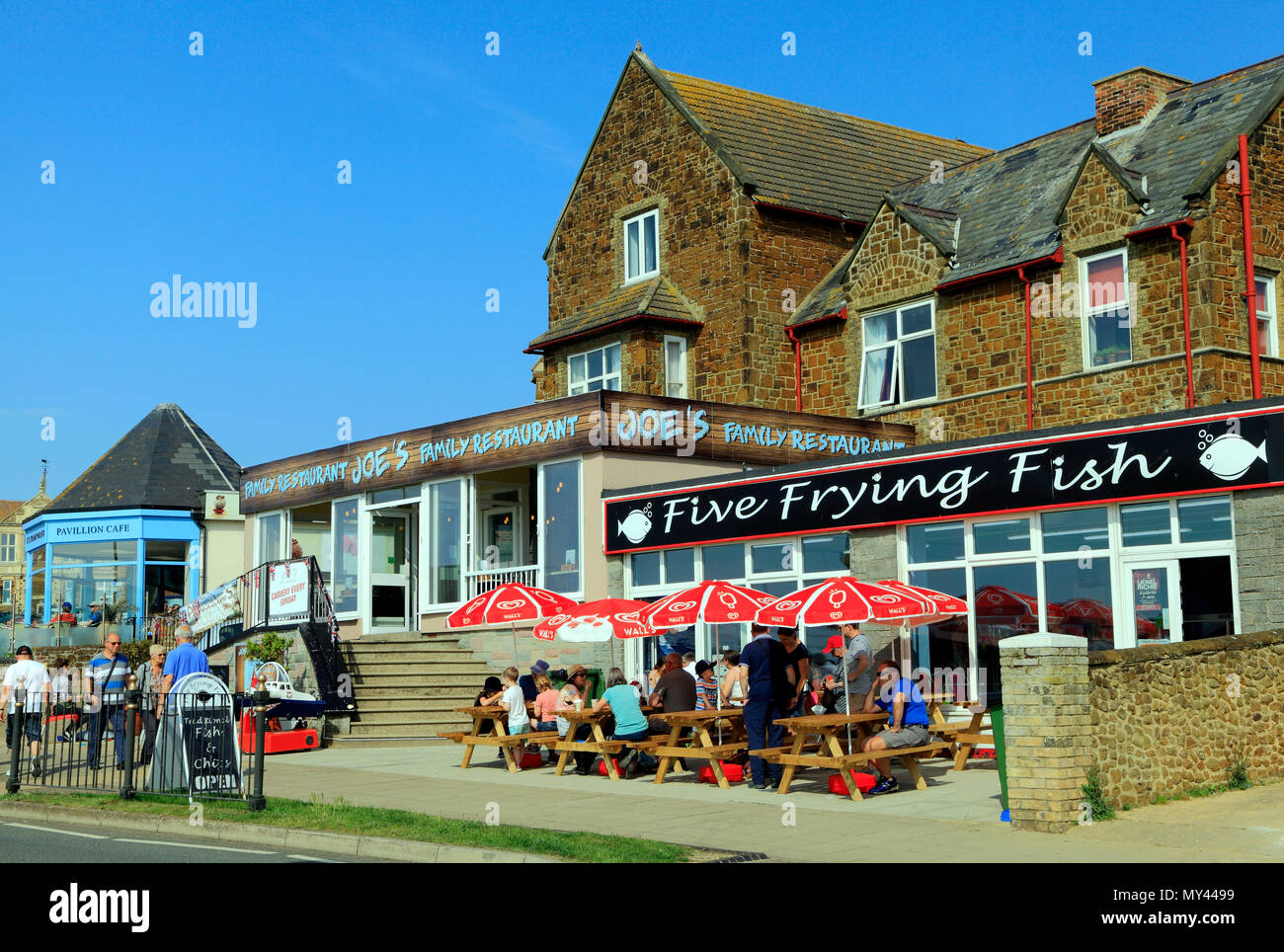 Hunstanton, fish shop cafe, restautants, holidaymakers, seaside resort, Five Frying Fish cafe, Norfolk, UK - Stock Image