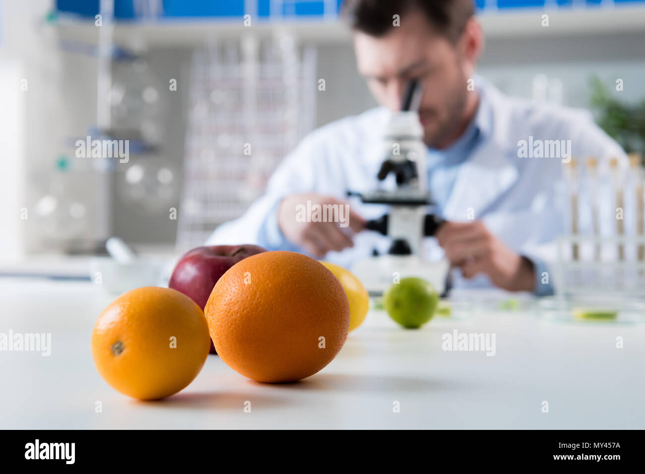Male scientist during work at modern biological laboratory - Stock Image