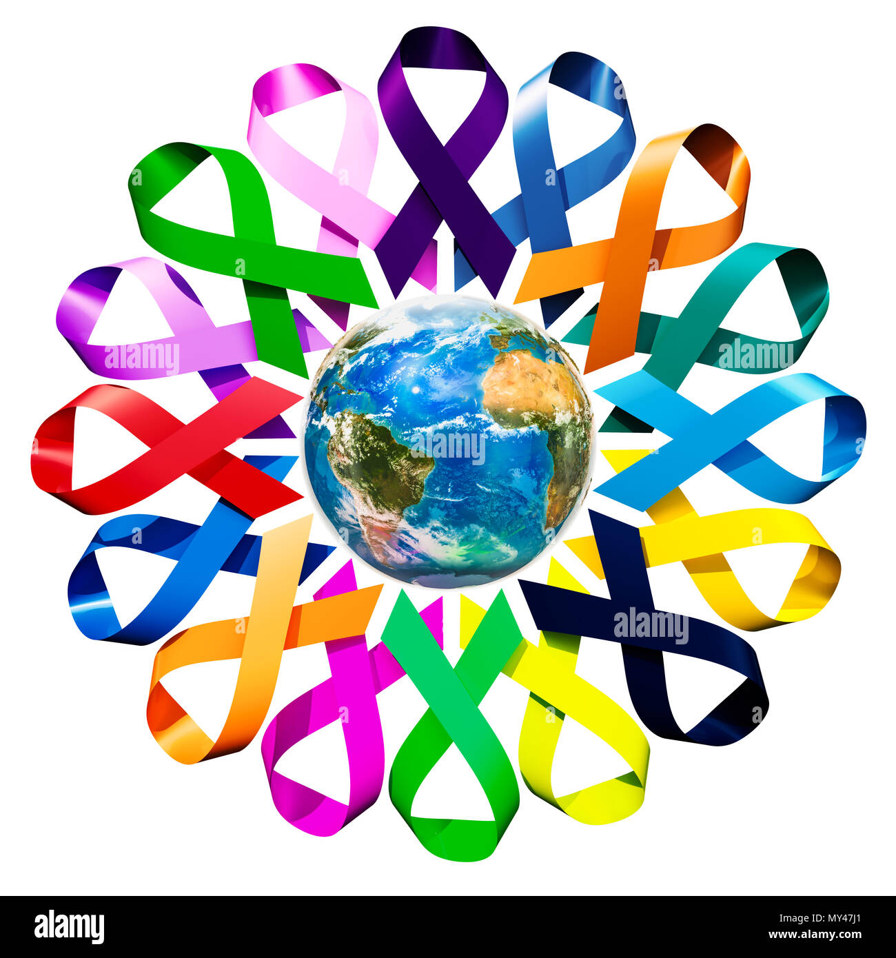 Awareness Ribbons with Earth Globe  3D rendering isolated on white