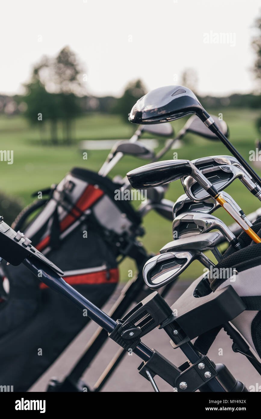 Close-up view of shiny golf clubs in golf bags outdoors - Stock Image