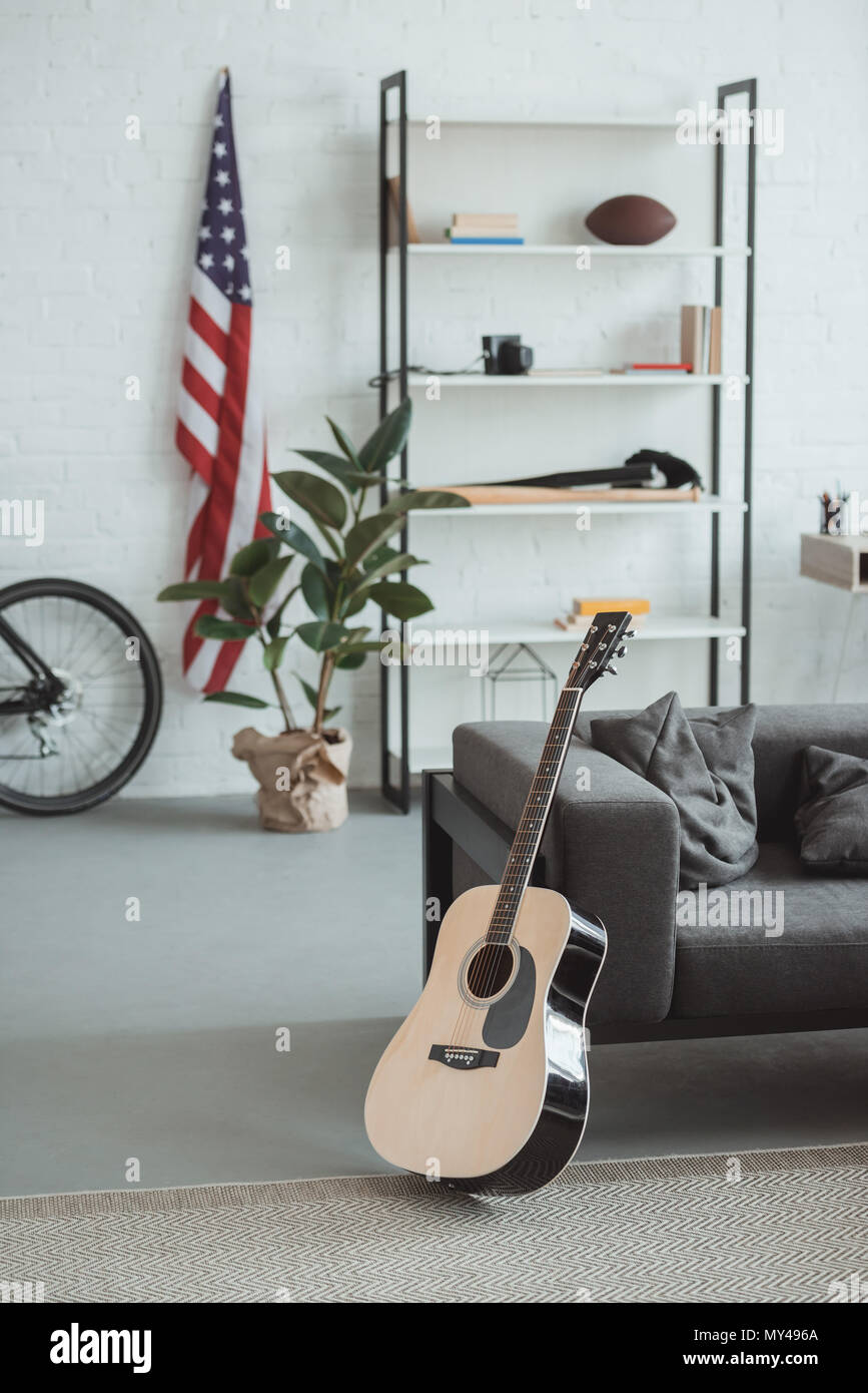 Interior Of Modern Living Room With American Flag, Shelves ...