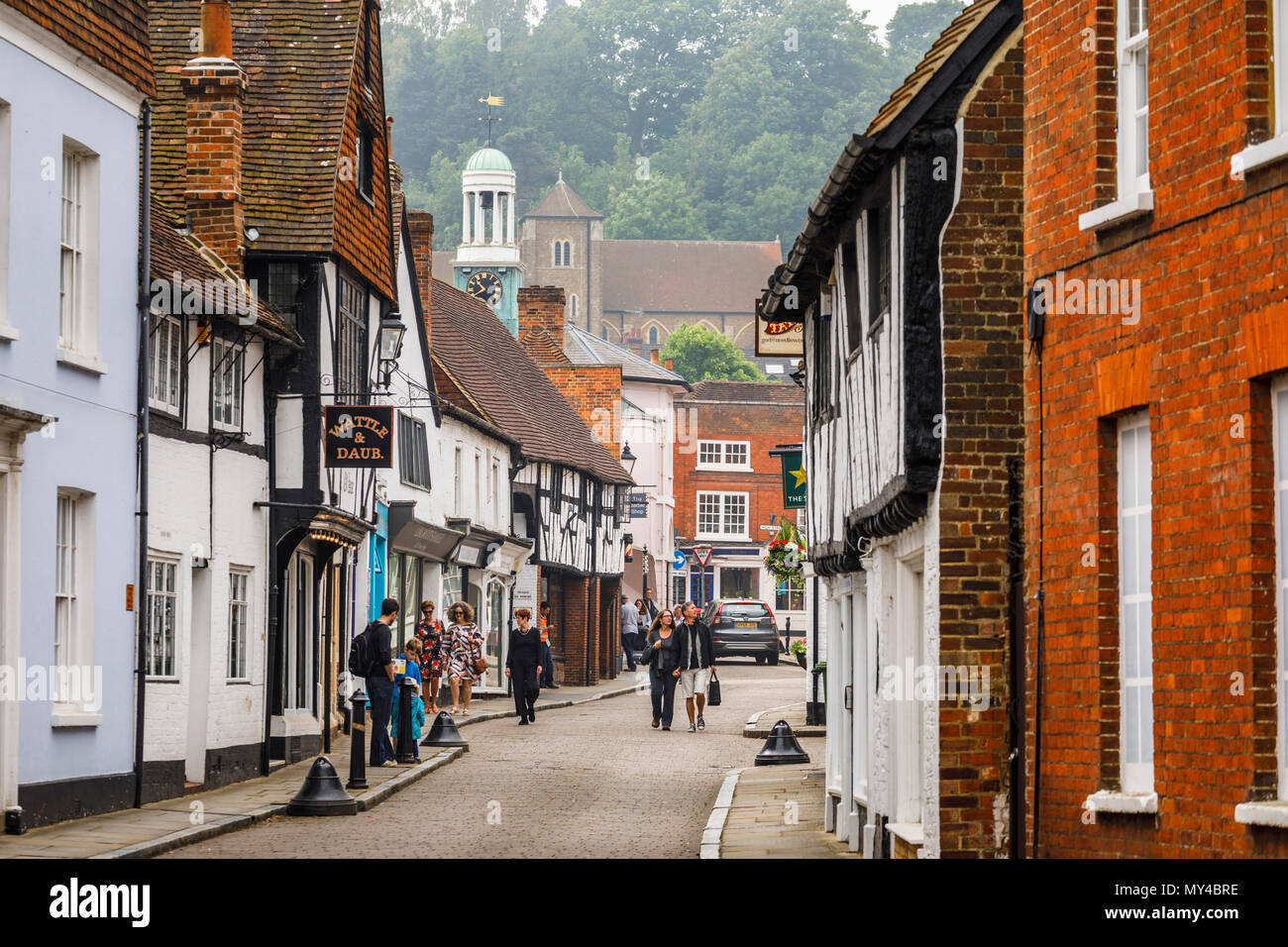 Church Street with old timbered buildings in Godalming, a small historic market town near Guildford, Surrey, southeast England, UK - Stock Image