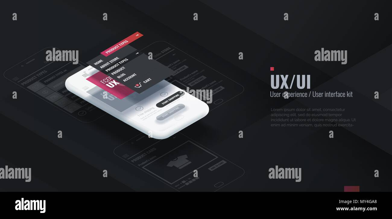 A conceptual mobile phone with a disassembled interface. User experience, user interface in e-commerce. Website wireframe for mobile apps. - Stock Image