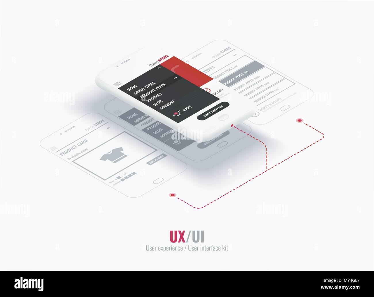 Website wireframe for mobile apps with links . A conceptual mobile phones with a mobile app page. User experience, user interface in e-commerce - Stock Image