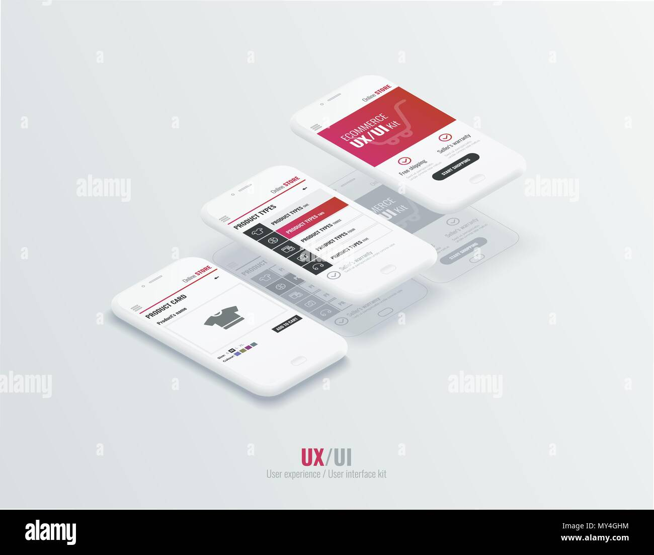A conceptual mobile phones with a mobile app pagese and website wireframe. User experience, user interface in e-commerce. Website wireframe for mobile apps - Stock Image