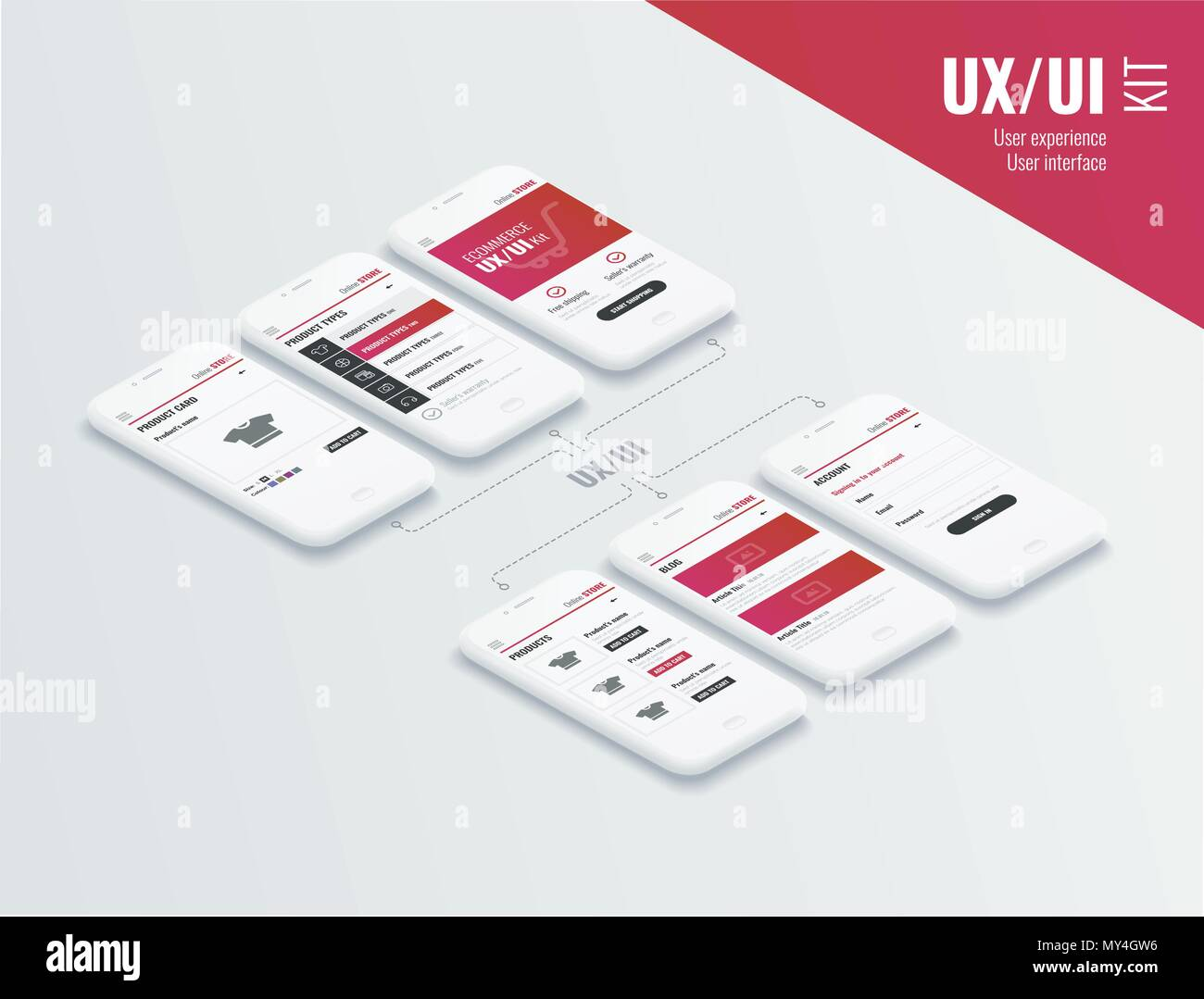 A conceptual mobile phones with a mobile app pagese. User experience, user interface in e-commerce. Website wireframe for mobile apps. - Stock Image