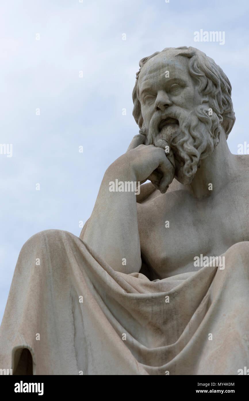 classic statue of Socrates close up - Stock Image
