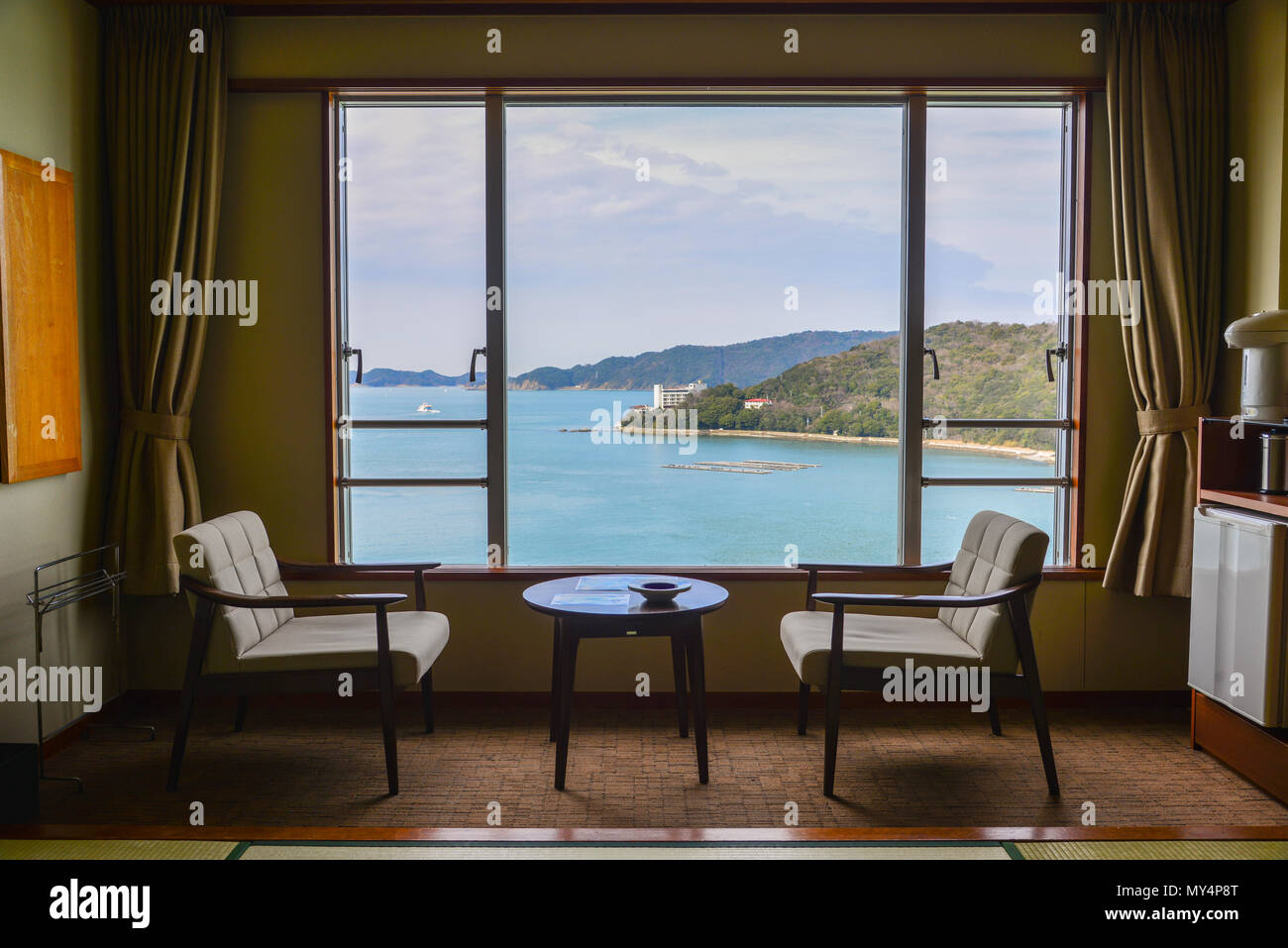 Sea view room of traditional hotel in Kumano, Japan. Stock Photo