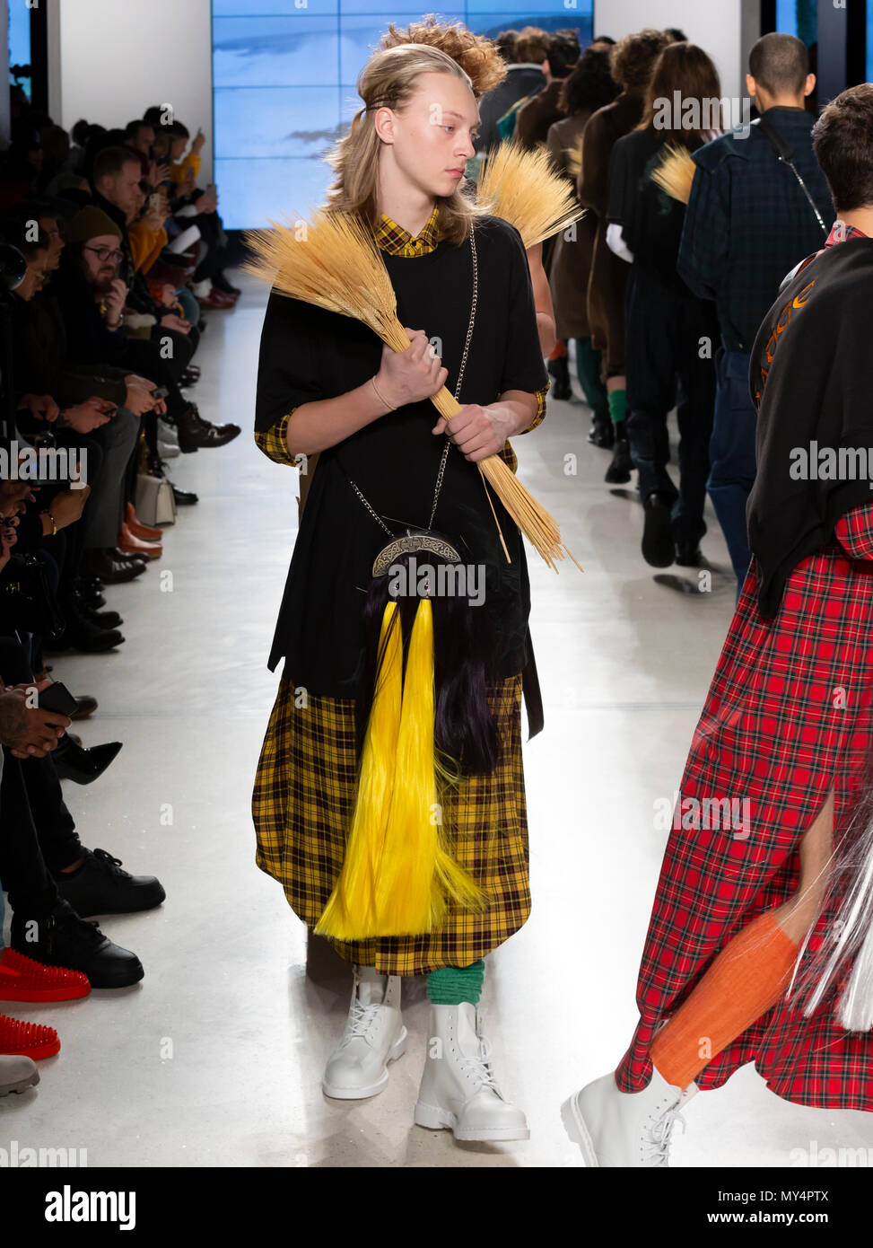 NEW YORK, NY - Feb 07, 2018: Models walk the runway at the N-p-Elliott SummersEnd  Show during New York Fashion Week Men's F/W 2018 - Stock Image