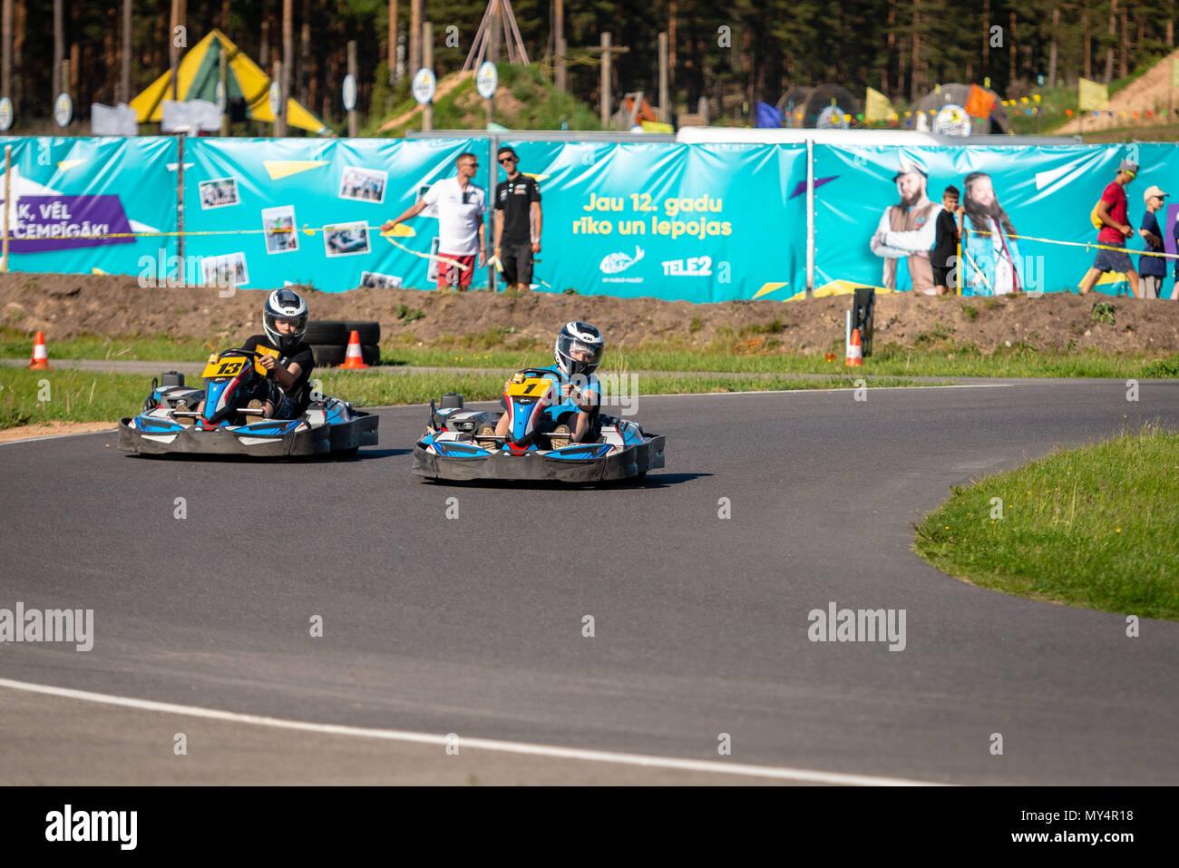 Go Kart Racing On Circuit Stock Photos & Go Kart Racing On