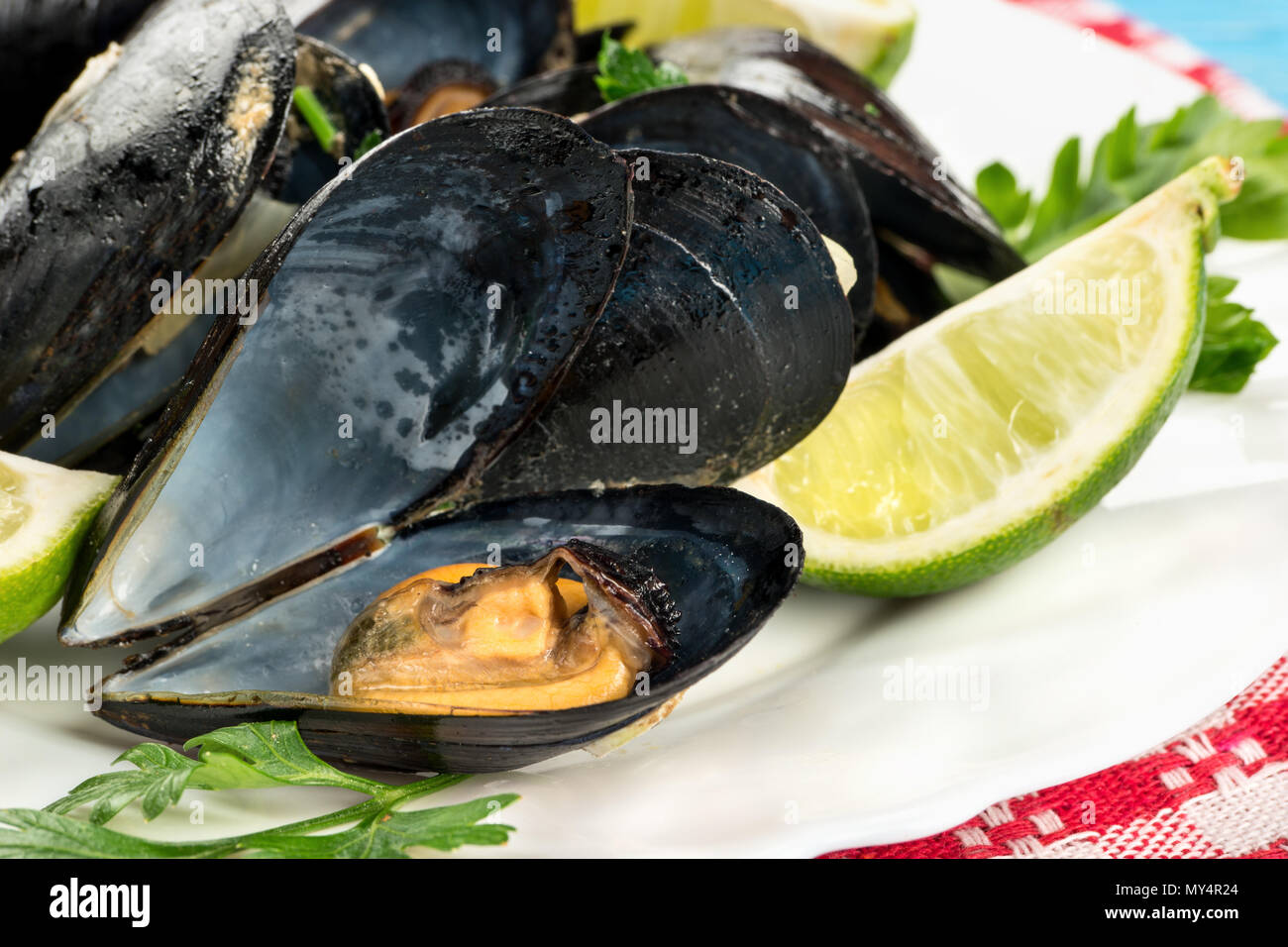 Open mussels cooked with ingredients on a plate, close-up - Stock Image