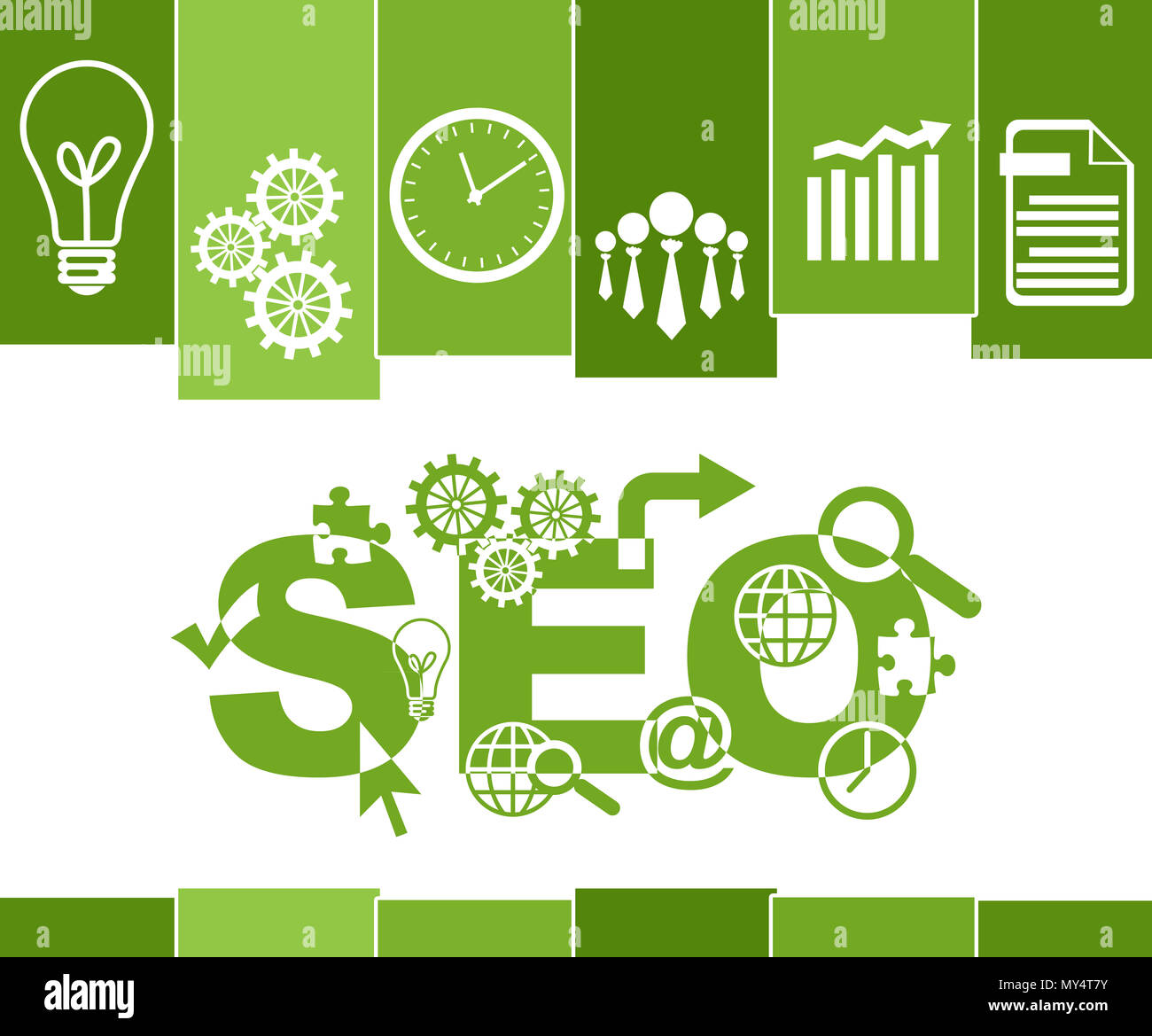 Seo Search Engine Optimization Green Stripes Symbols Stock Photo