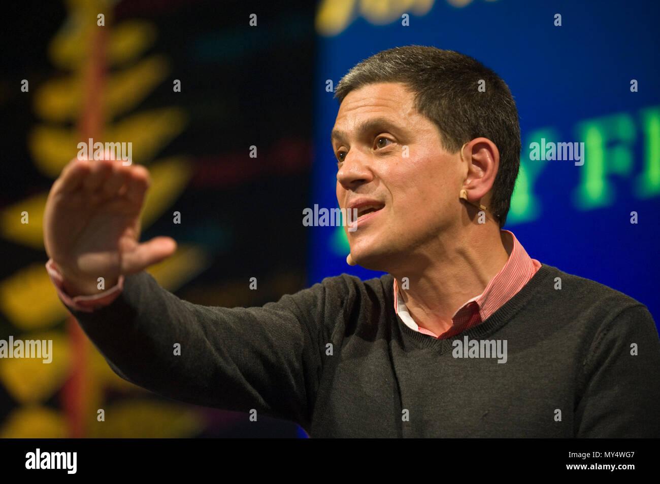 David Miliband speaking on stage at Hay Festival 2018 Hay-on-Wye Powys Wales UK Stock Photo
