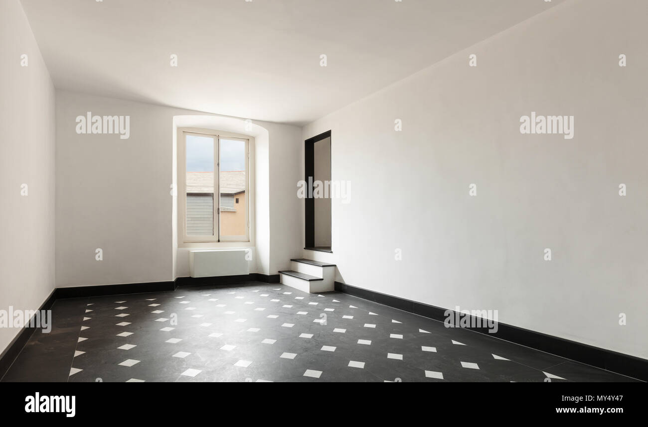 Old Empty Apartment With Black Marble Floors Stock Photo Alamy