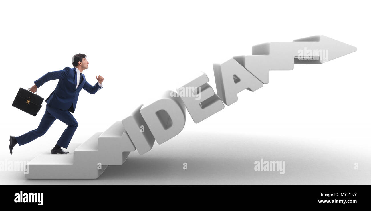 concept of idea with businessman climbing steps stairs stock photo