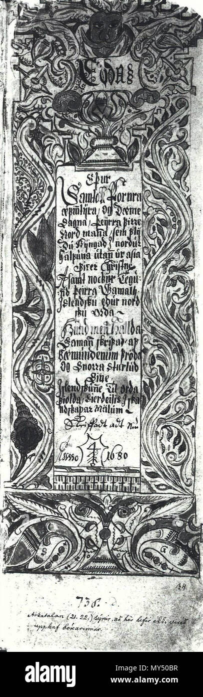 . A page of AM 738 4to, an Icelandic 17th century manuscript.  1680[1]. . Unknown 36 AM 738 4to, 34r, BW Front - Stock Image