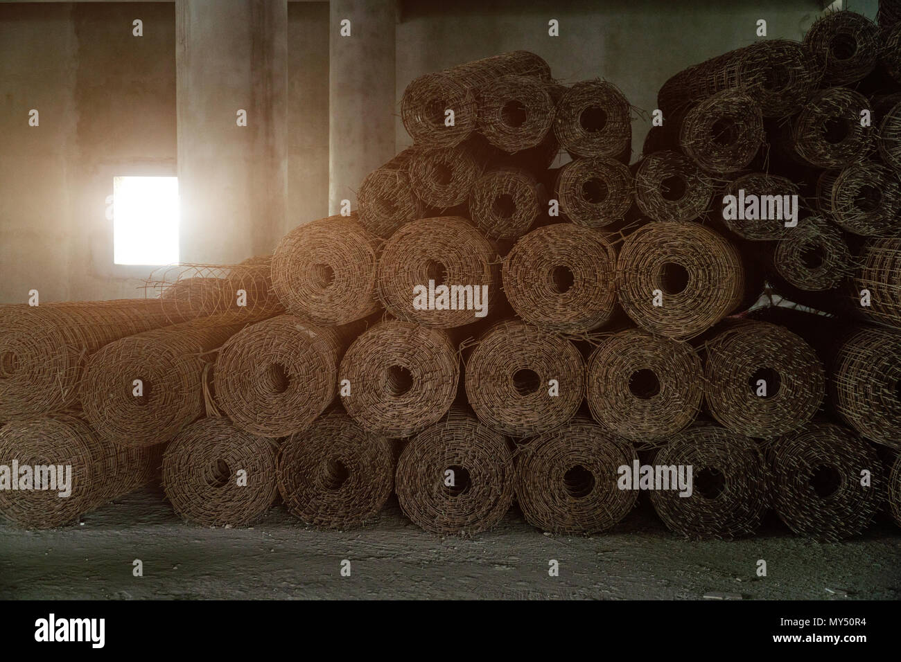 steel mesh wired for construction,strong and strength building structure. - Stock Image