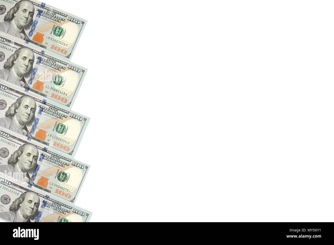 Background with money american hundred dollar bills with copy space inside. Frame of banknotes denominations of 100 dollars - Stock Image