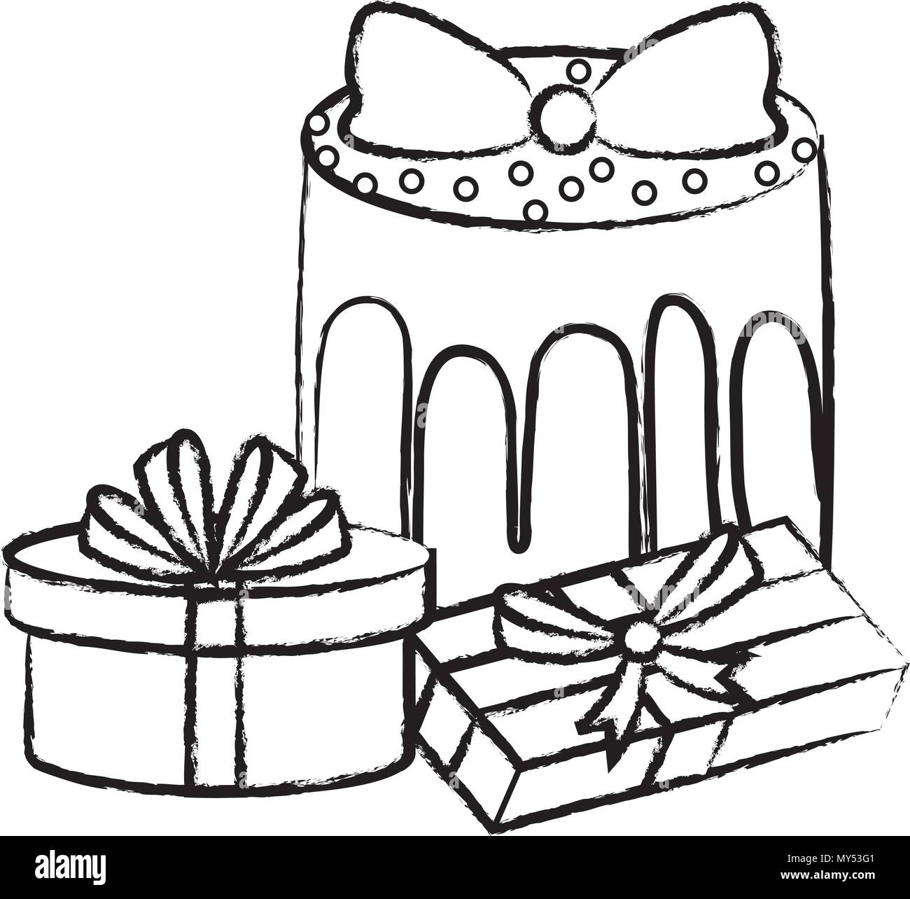 Sketch Of Gift Boxes And Birthday Cake Over White Background Vector