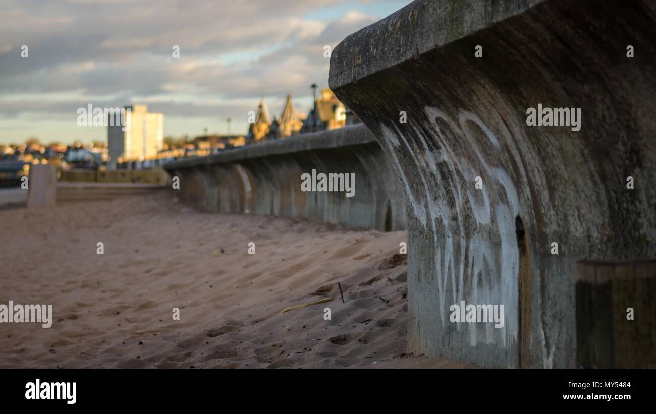 Edinburgh, Scotland, UK - March 20, 2015: Graffiti proclaims Class War on the promenade of Portobello Beach in Edinburgh. - Stock Image