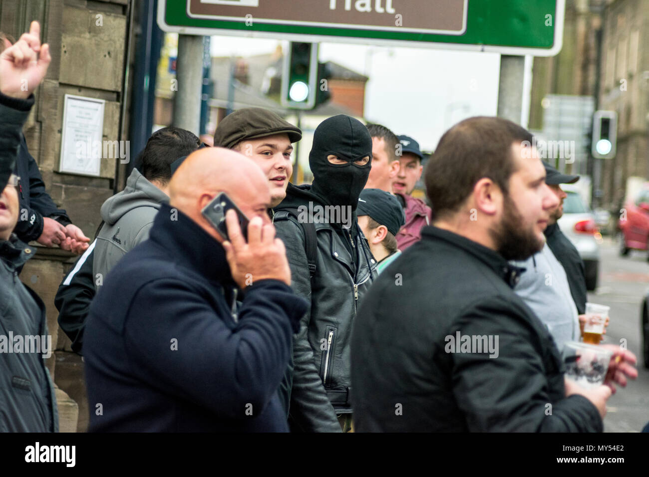 28 October 2017 - The far-right group EDL gather in Stoke-on-Trent, alongside leaders Paul Golding and Jayda Fransen, which quickly turned violent with clashes with the police and anti-protestors - Stock Image