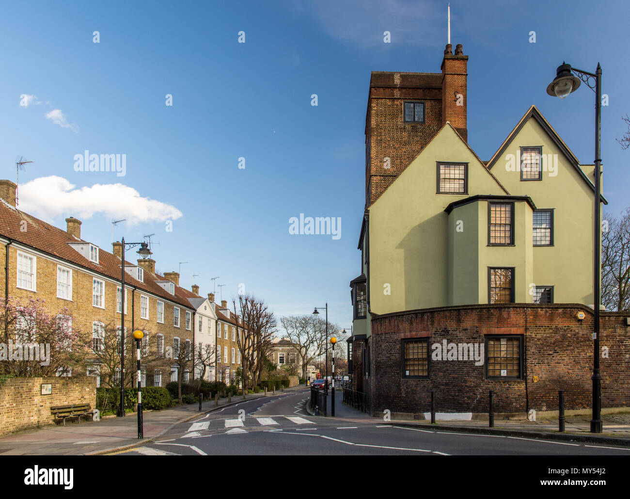 London, England, UK - February 12, 2018: The historic Canonbury Tower stands amongst houses in the residential neighbourhood of Islington in North Lon - Stock Image