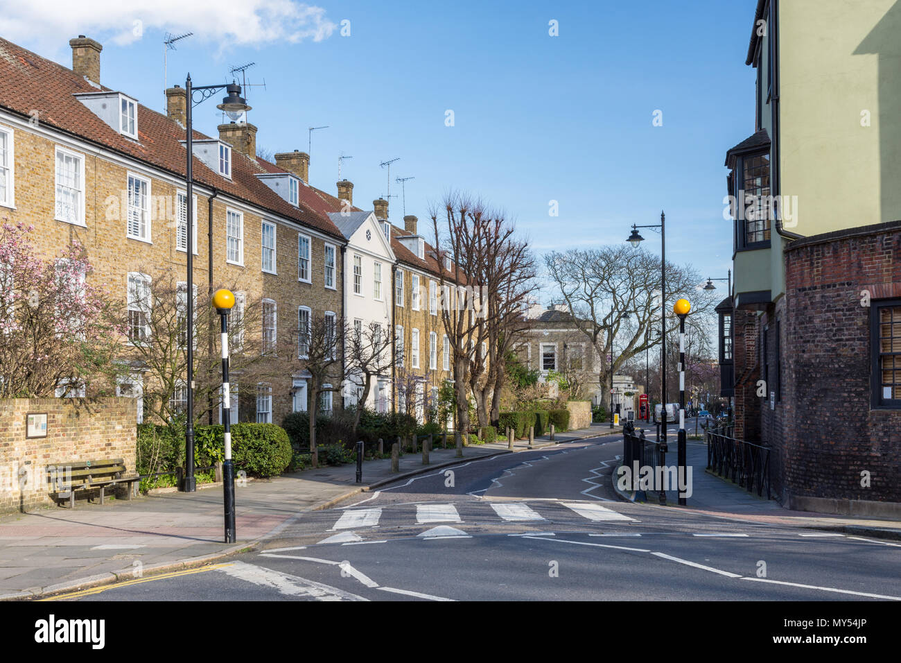 London, England, UK - February 12, 2018: Terraces of traditional town houses line leafy residential streets in the Canonbury neighbourhood of Islingto - Stock Image