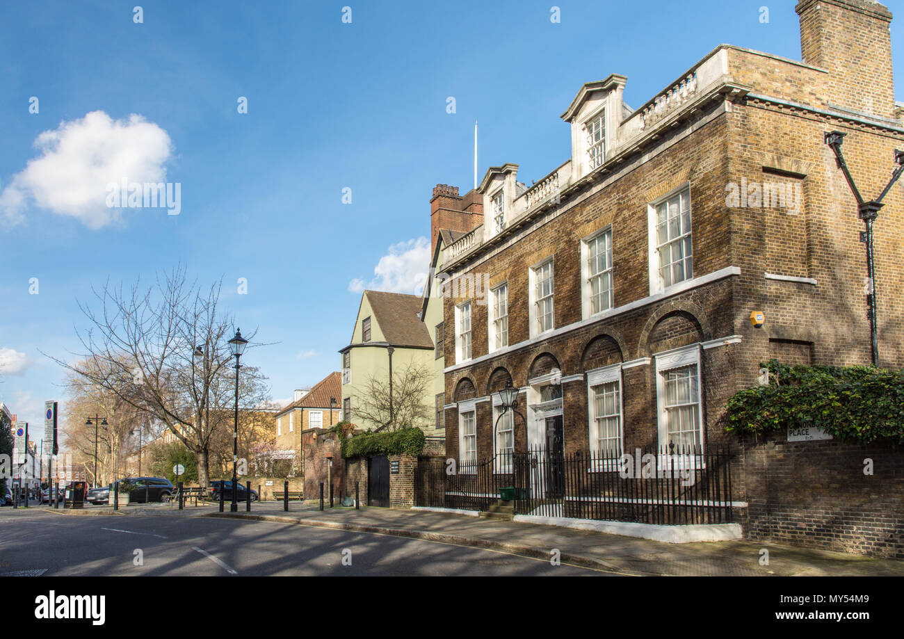 London, England, UK - February 12, 2018: Sun shines on Canonbury House and Canonbury Tower amongst the traditional residential streets of Islington in - Stock Image