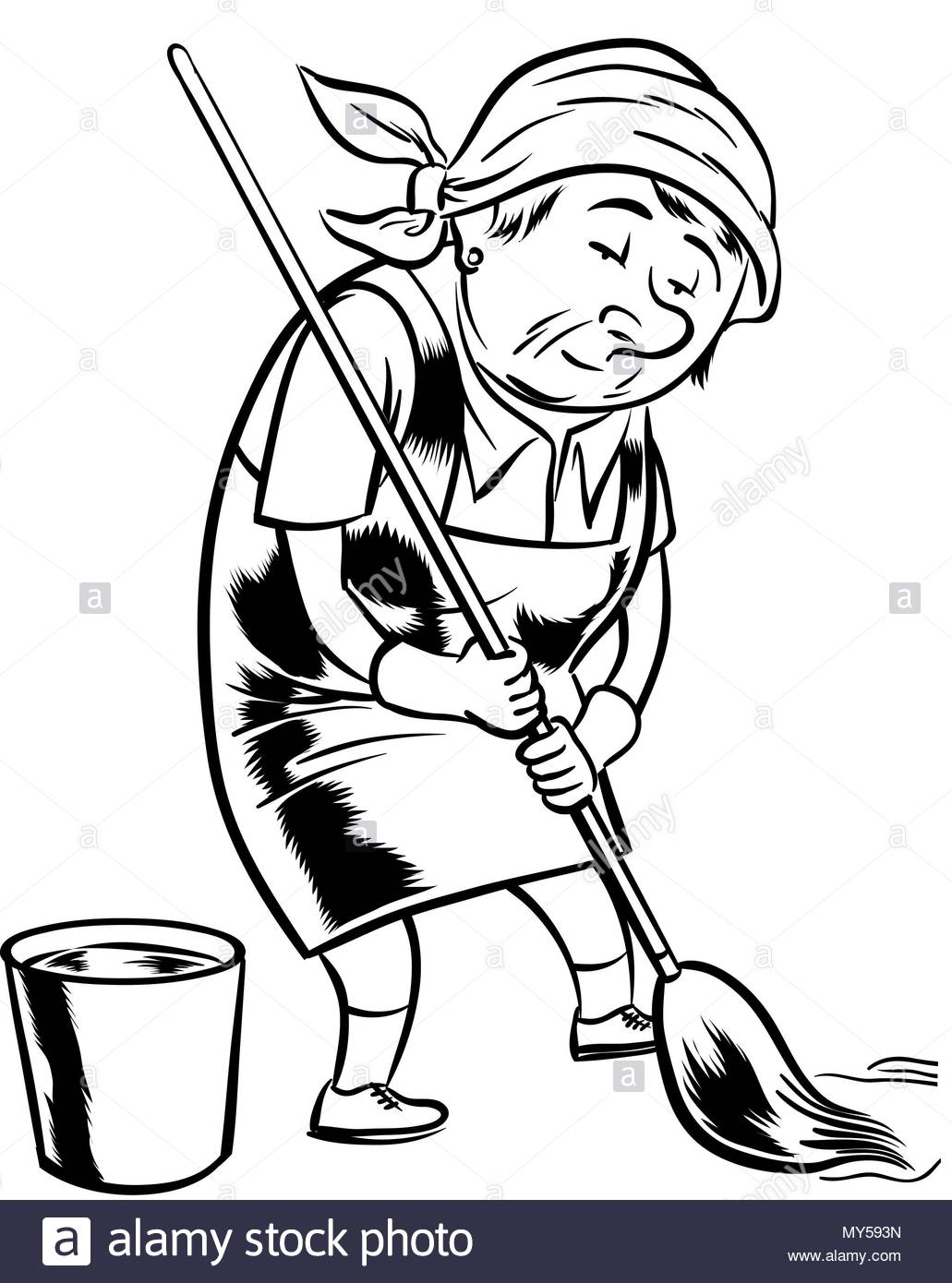Cleaning Lady Black And White Stock Photos Images