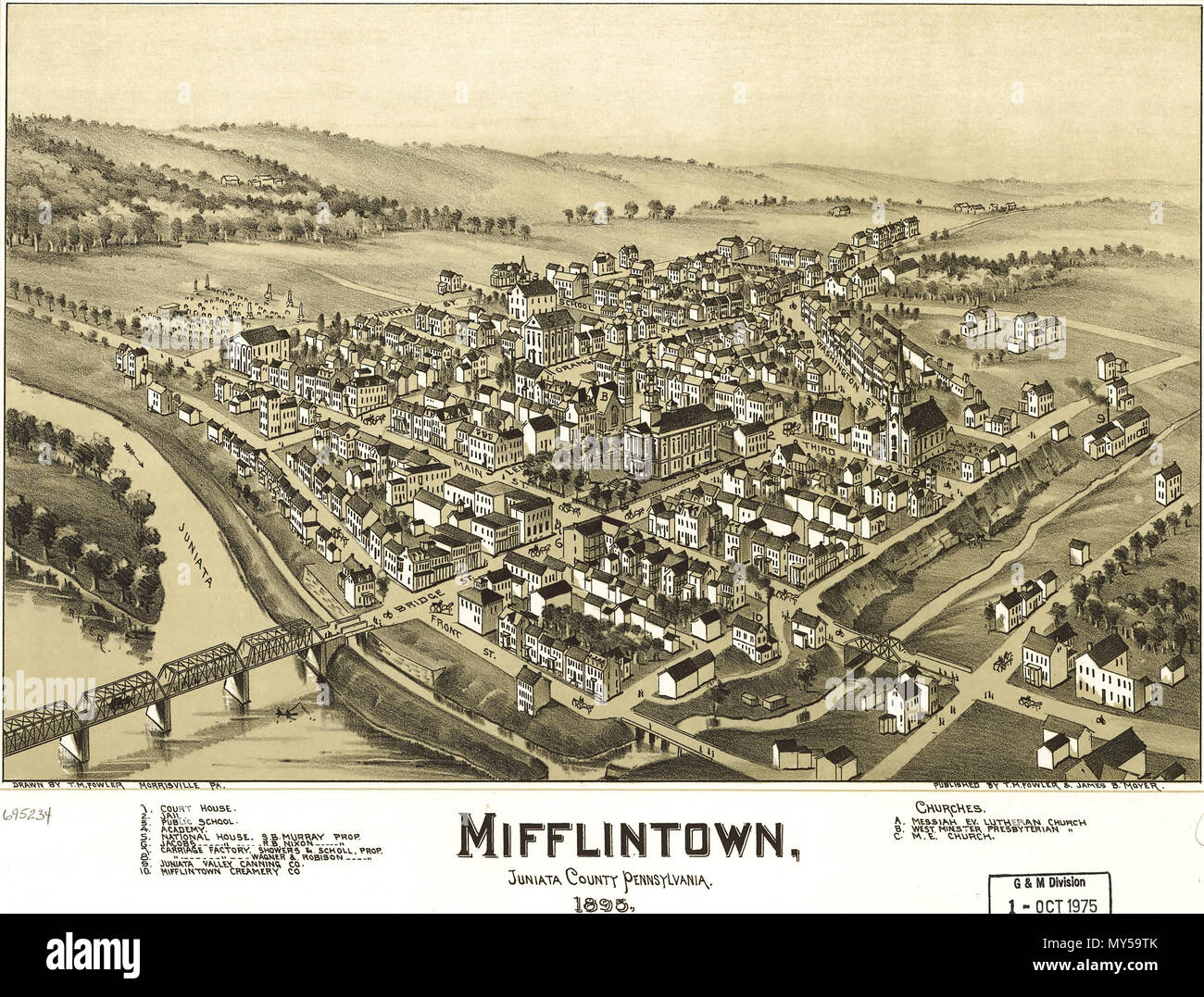 English A Birdseye View Of Mifflintown Pennsylvania From 1895