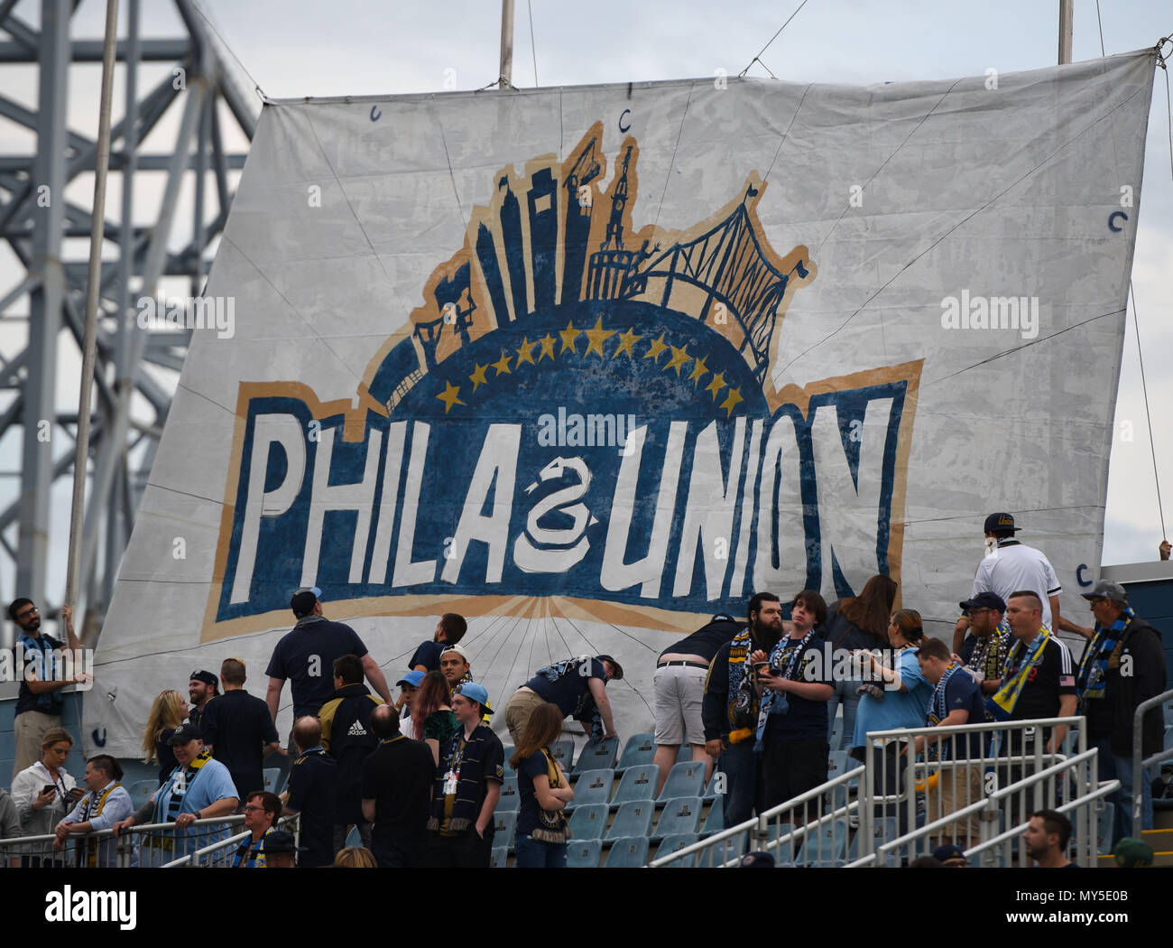 Chester, Pennsylvania, USA. 5th June, 2018. Philadelphia Union fans holding their banner before the start of the match between the Union and the Richmond Kickers at Talen Energy Stadium, Chester PA Credit: Ricky Fitchett/ZUMA Wire/Alamy Live News Stock Photo