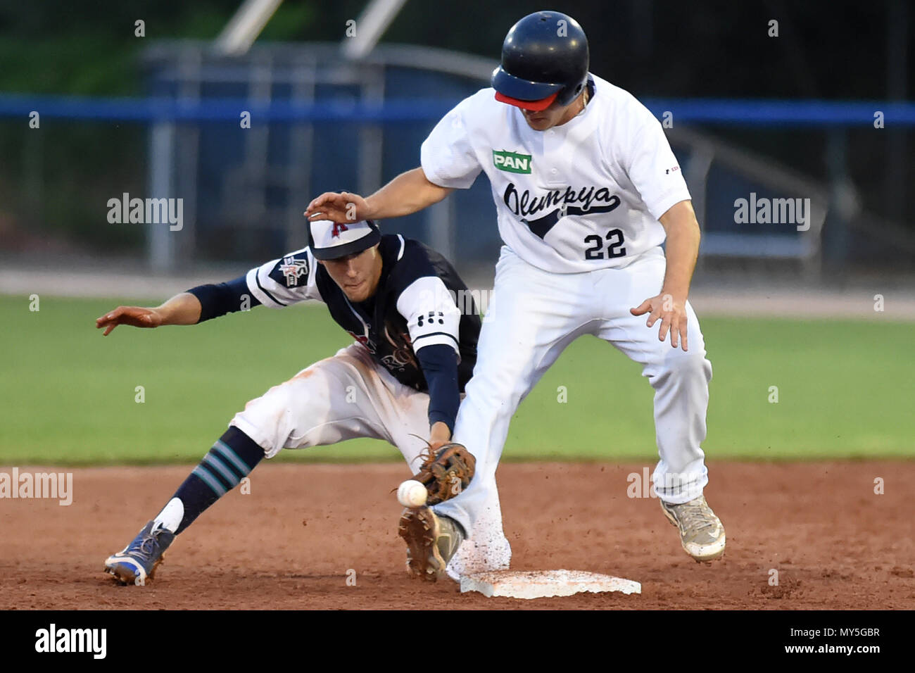 5475ccbb5eee9 L-R JAKUB GREPL (Arrows) and IVAN MITROVIC (Olimpija) in action during the  baseball match Ostrava Arrows (CZE) vs Olimpija 83 Karlovac (CRO) within  the 2018 ...