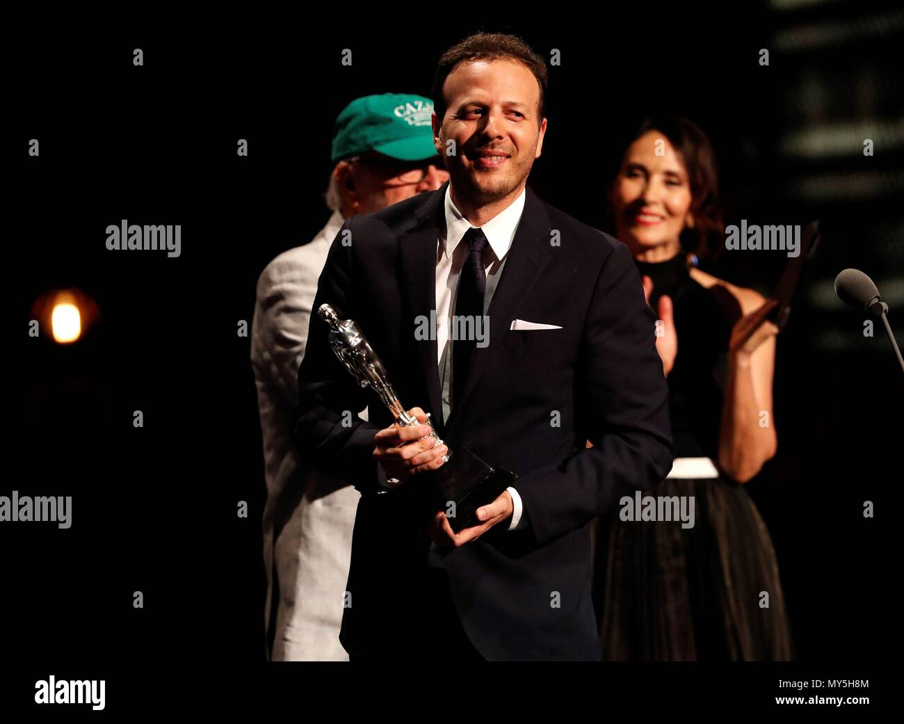 Mexican film director Amat Escalante receives the Arial Award for the Best Director during Mexico's 60th Ariel Film Awards handover ceremony held in Mexico City, Mexico, 05 June 2018 (issued on 06 June). EFE/ Jorge Núñez - Stock Image