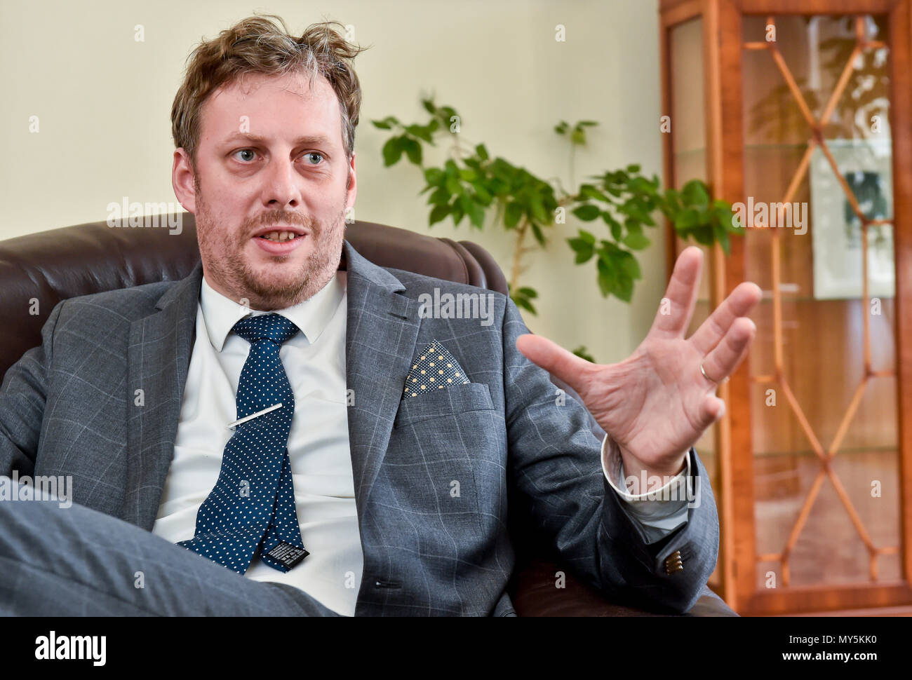 """Prague, Czech Republic. 04th June, 2018. Ondrej Ditrych, new Director of the Czech """"Institute of International Relations"""", speaks during the interview for the Czech News Agency in Prague, Czech Republic, on June 4, 2018. Credit: Vit Simanek/CTK Photo/Alamy Live News Stock Photo"""