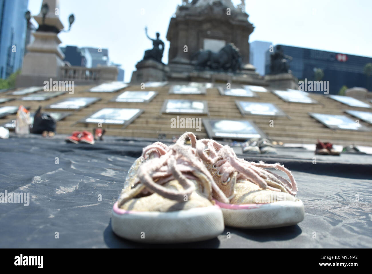 Mexico City, Mexico. 5th June, 2018. Shoes of the deceased kids are seen displayed during the 9th anniversary protest. Demonstration to the impunity and corruption of the Government during the 9 years after the tragedy on 05, June 2009. 25 little girls and 24 little boys died as a result of a fire in the ABC Nursery in Hermosillo, Sonora. Eduardo Bours was the governor. Credit: Carlos Tischler/SOPA Images/ZUMA Wire/Alamy Live News Stock Photo