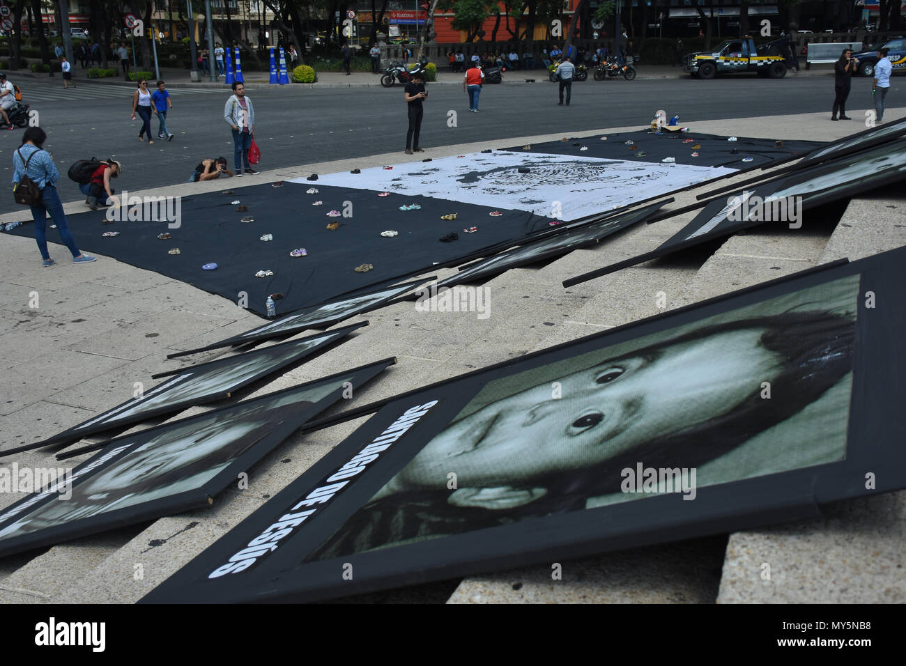 Mexico City, Mexico. 5th June, 2018. Portraits of the deceased children are seen displayed during the 9th anniversary protest. Demonstration to the impunity and corruption of the Government during the 9 years after the tragedy on 05, June 2009. 25 little girls and 24 little boys died as a result of a fire in the ABC Nursery in Hermosillo, Sonora. Eduardo Bours was the governor. Credit: Carlos Tischler/SOPA Images/ZUMA Wire/Alamy Live News Stock Photo