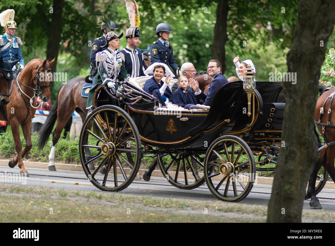 Stockholm, Sweden, June 6, 2018. The Swedish Royal Family celebrating the Swedish National Day in Stockholm. Credit: Barbro Bergfeldt/Alamy Live News - Stock Image
