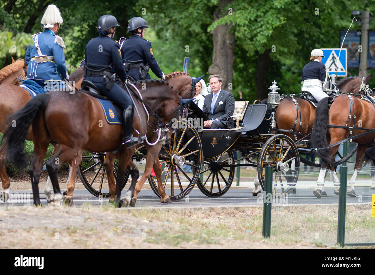 Stockholm, Sweden, June 6, 2018. The Swedish Royal Family celebrating the Swedish National Day in Stockholm. Princess Madeleine and Mr Christopher O´Neill Credit: Barbro Bergfeldt/Alamy Live News Stock Photo