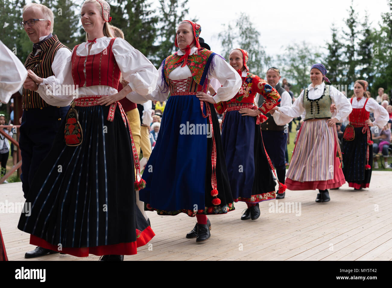 Stockholm, Sweden, June 6, 2018. Sweden's National Day celebration at Skansen, Stockholm. Public holiday in Sweden and traditional Swedish National Day June 6 celebration at the world´s oldest  open-air museum - Skansen. Credit: Barbro Bergfeldt/Alamy Live News - Stock Image