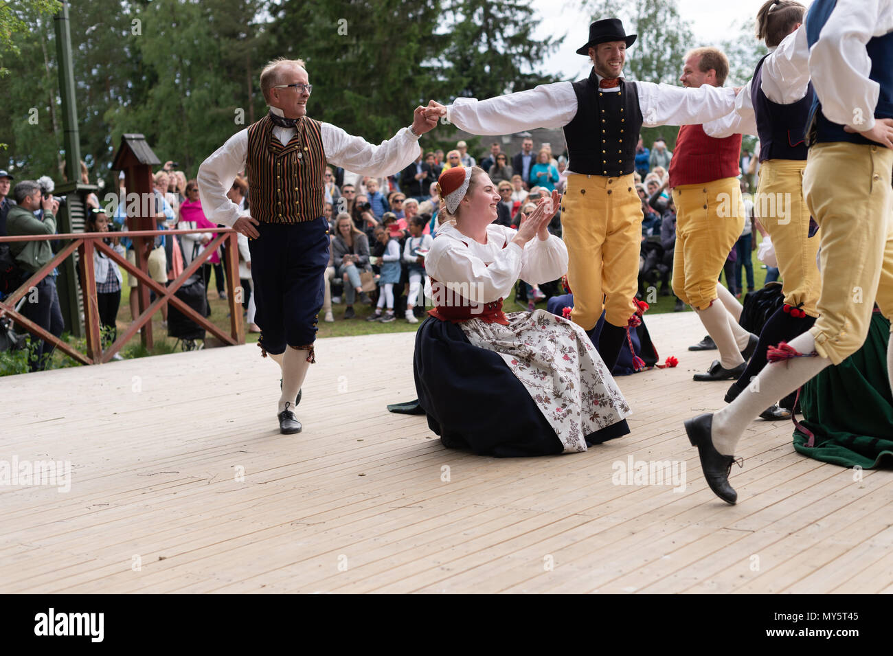 Stockholm, Sweden, June 6, 2018. Sweden's National Day celebration at Skansen, Stockholm. Public holiday in Sweden and traditional Swedish National Day June 6 celebration at the world´s oldest  open-air museum - Skansen. Credit: Barbro Bergfeldt/Alamy Live NewsStock Photo