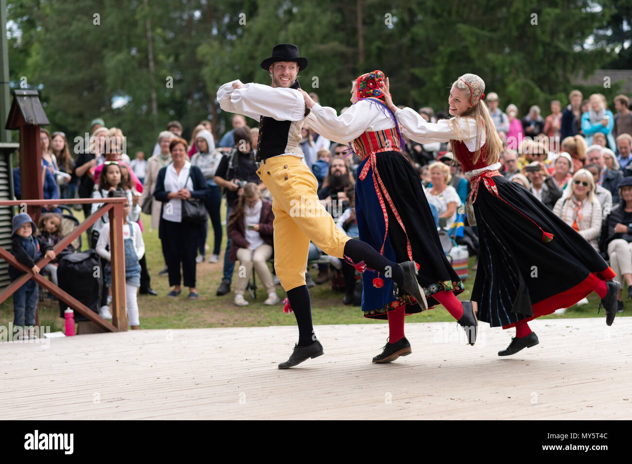 Stockholm, Sweden, June 6, 2018. Sweden's National Day celebration at Skansen, Stockholm. Public holiday in Sweden and traditional Swedish National Day June 6 celebration at the world´s oldest  open-air museum - Skansen. Credit: Barbro Bergfeldt/Alamy Live News Stock Photo