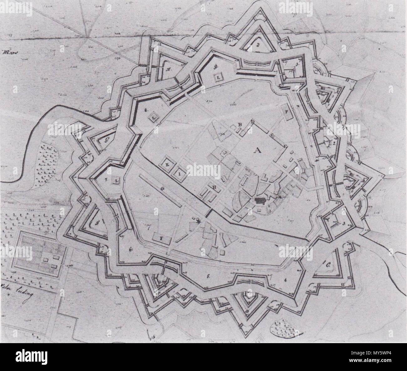 . English: fortification plan Ommen 1819 Nederlands: plan vesting Ommen 1819 . October 1819. Directie van fortificatiën 549 Vestingplan Ommen 1819 after - Stock Image